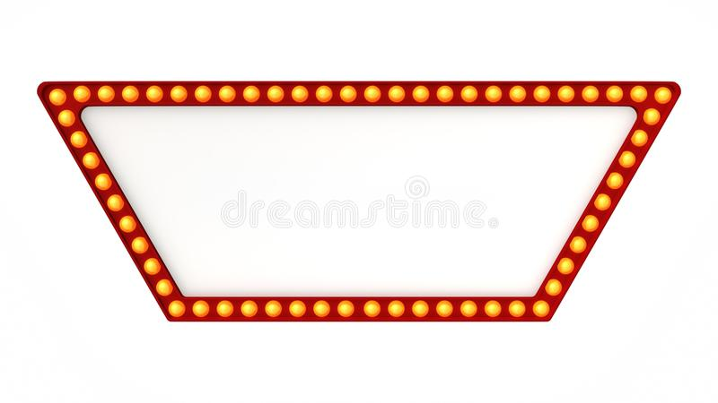 Red marquee light board sign retro on white background. 3d rendering stock photography