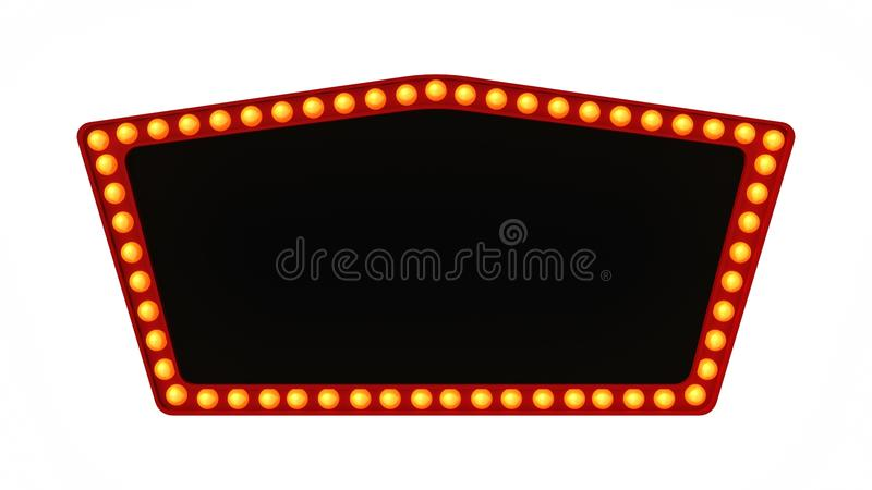 Red marquee light board sign retro on white background. 3d rendering royalty free stock images