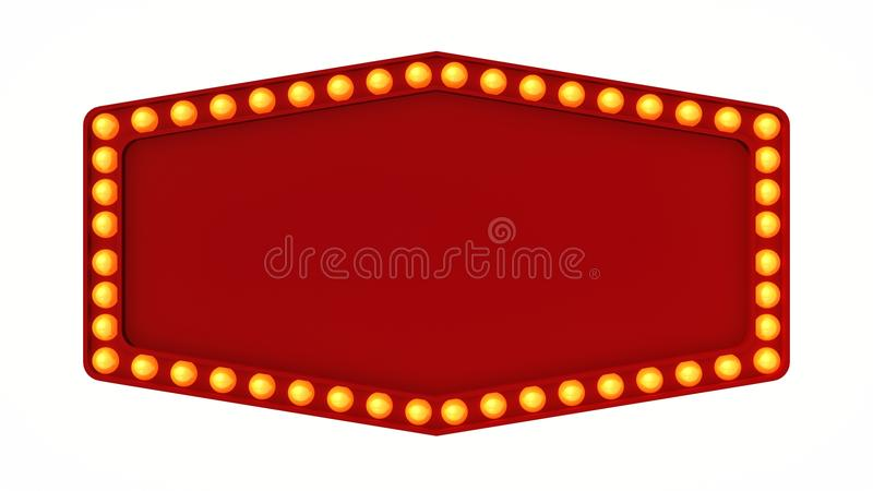 Red marquee light board sign retro on white background. 3d rendering stock image