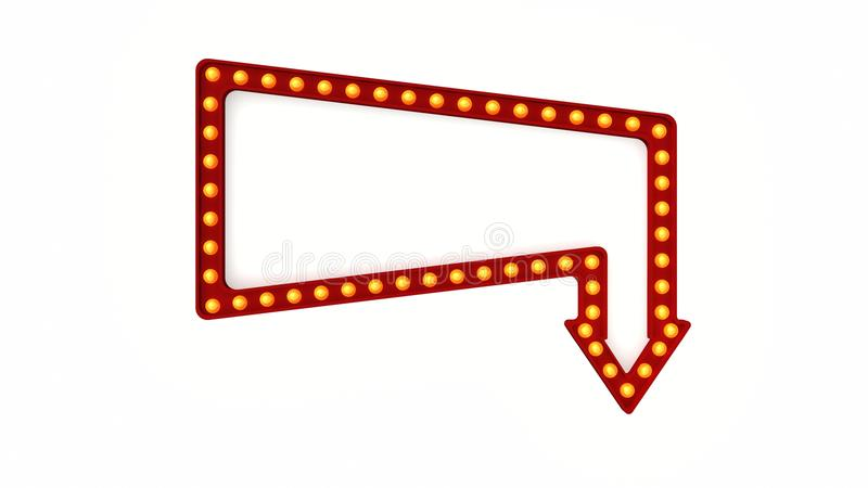 Marquee light board sign retro on white background. 3d rendering stock photography
