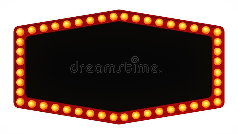 Marquee light board sign retro on white background. 3d rendering royalty free stock photography