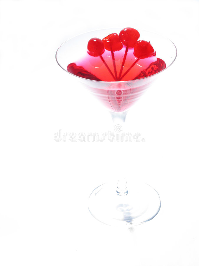 Red Martini. Martini glass with cherries stock photography