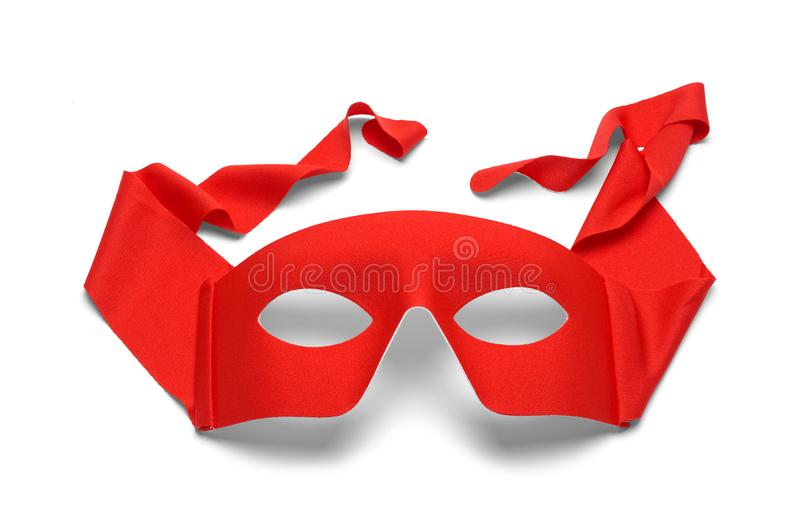 Red Mask. Red Fabric Hero Mask Isolated on White stock image