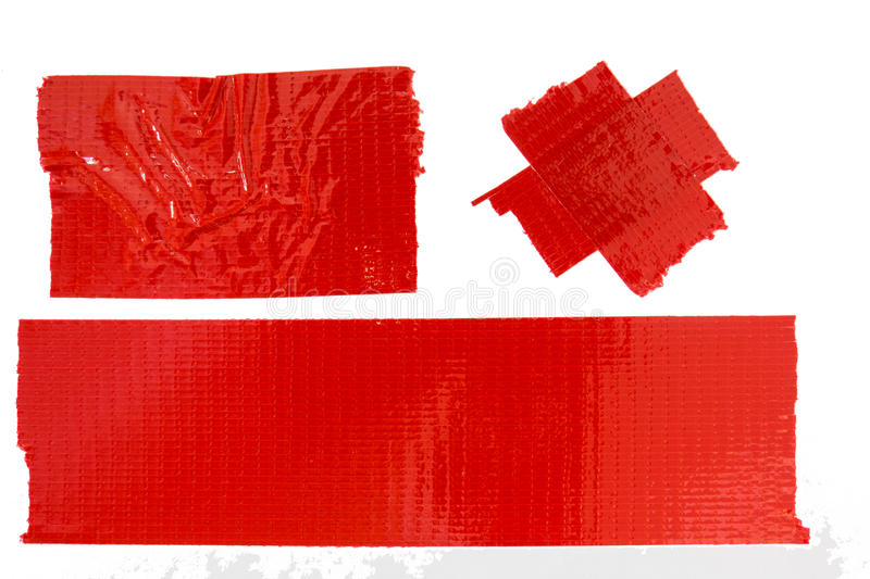 Red Masking Tape. Collection of used red masking tape pieces stock photo