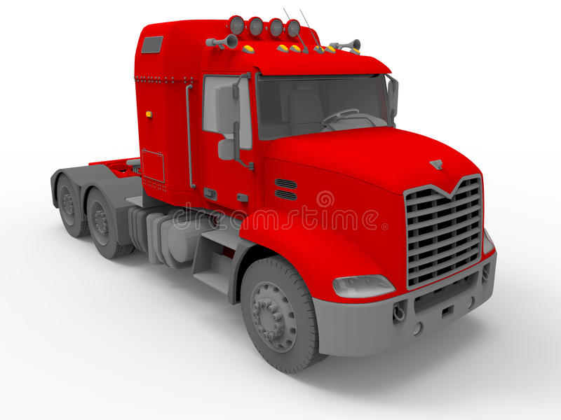 Red massive truck. 3D render illustration of a red massive truck. The truck is on a white background with strong shadows vector illustration
