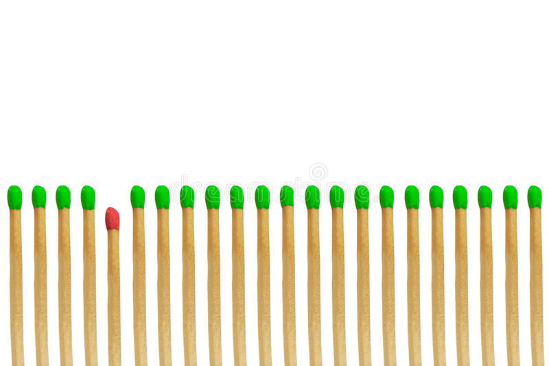 Red matchstick loser concept stock photo