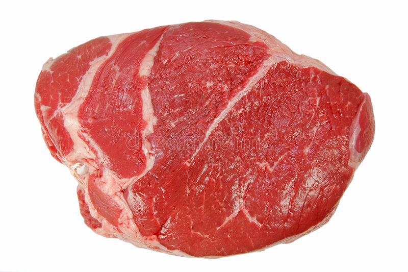 Red Meat. A large cut of red meat beef isolated on white stock image