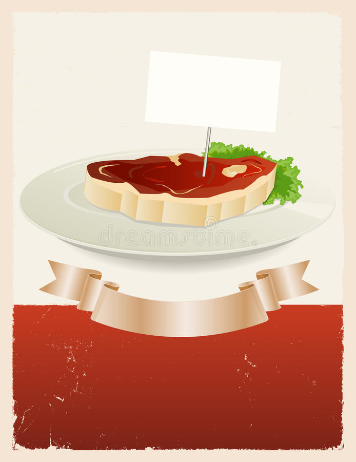 Red Meat Restaurant Banner. Illustration of a vintage grunge restaurant background with piece of beefsteak in a dish plate and scroll banner for food stock illustration