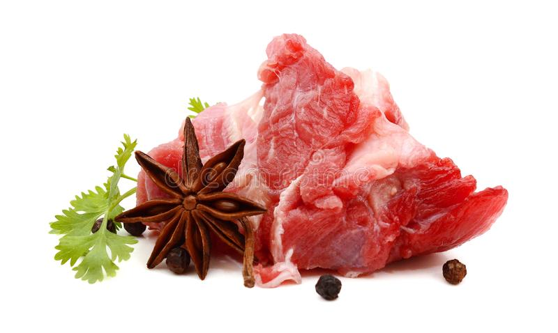 Raw Meat. A red meat with rosemary isolated on white background stock images