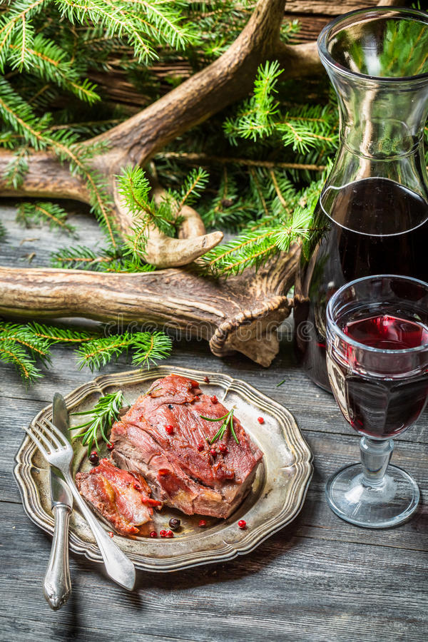 Red meat tastes best with wine stock images