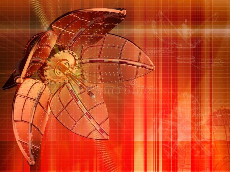 Red mechanical flower background vector illustration