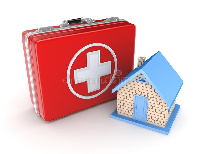 Red medical suitcase and small house. vector illustration