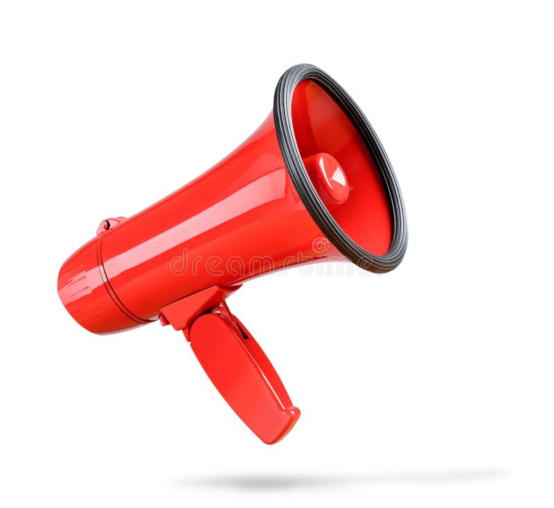 Red megaphone isolated on white background. File contains a path to isolation. stock photography