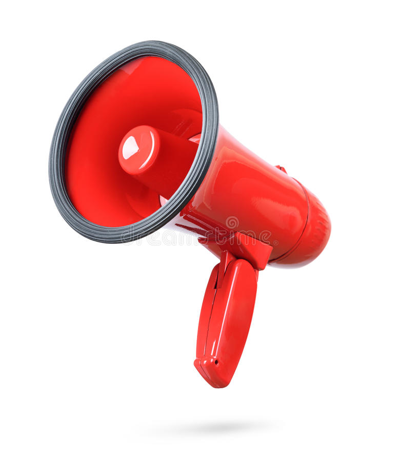 Red megaphone isolated on white background. stock images