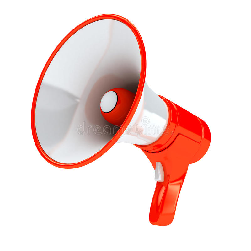 Red megaphone over white background vector illustration