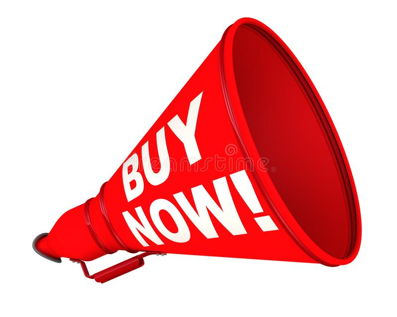 Buy now! The labeled megaphone. Red megaphone with white text BUY NOW! on a white background. Isolated. 3D Illustration stock illustration