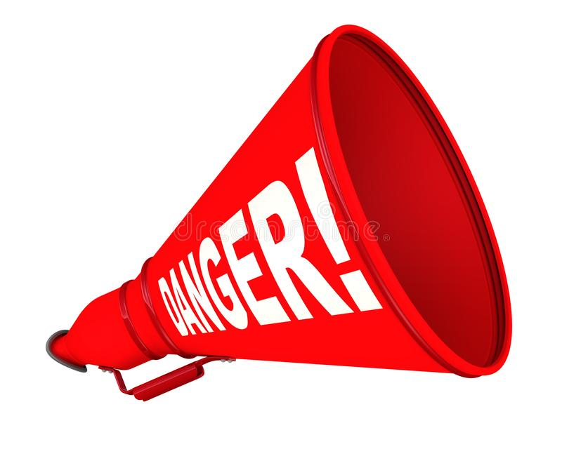 Danger! Labeled megaphone. Red megaphone with white text DANGER! on a white background. Isolated. 3D Illustration royalty free illustration