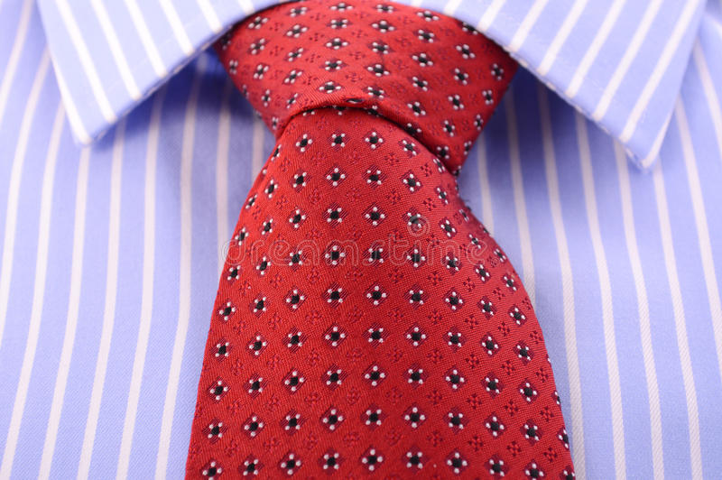 Red Mens Tie And Blue Stripe Shirt. Stock Photo - Image ...