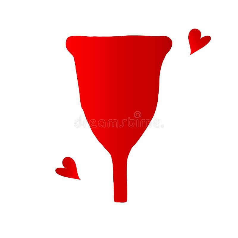 Red menstrual cup flat cartoon illustration. A menstrual cup flat cartoon vector illustration isolated on white background. Feminine hygiene concept. Women stock illustration