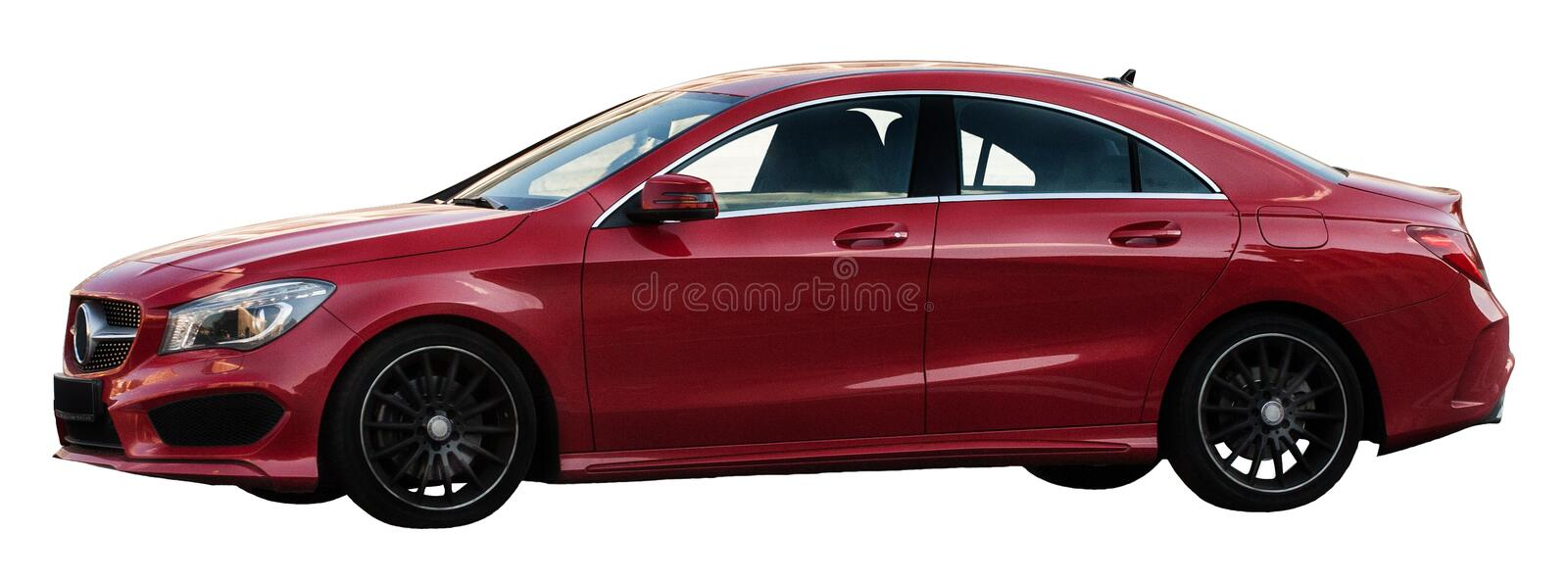 Red Mercedes-Benz on a transparent background royalty free stock photos