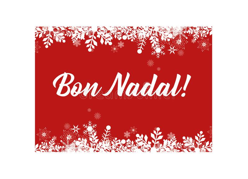 Red Merry Christmas in Catalan greeting card for web and print. Vector format royalty free illustration