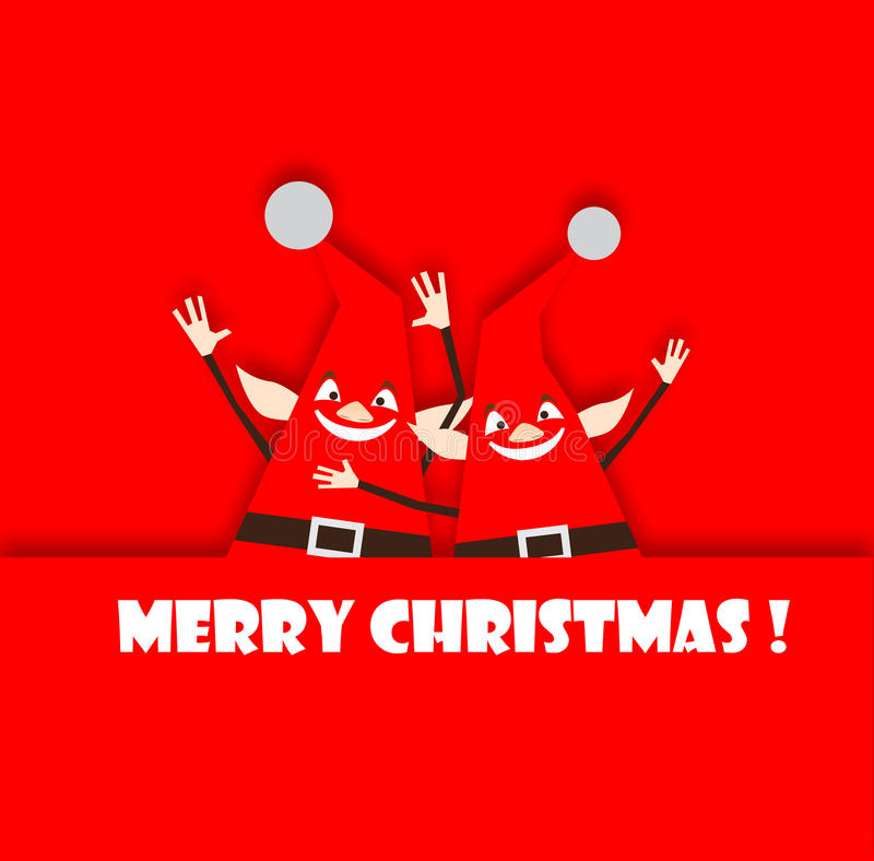 Red Merry Christmas Elves Waving. Two happy bright red elves waving and smiling with Merry Christmas words royalty free illustration