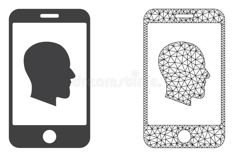 Red Mesh Cellphone Profile del vector e icono plano libre illustration