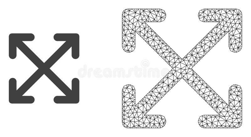 Red Mesh Enlarge Arrows del vector e icono plano stock de ilustración