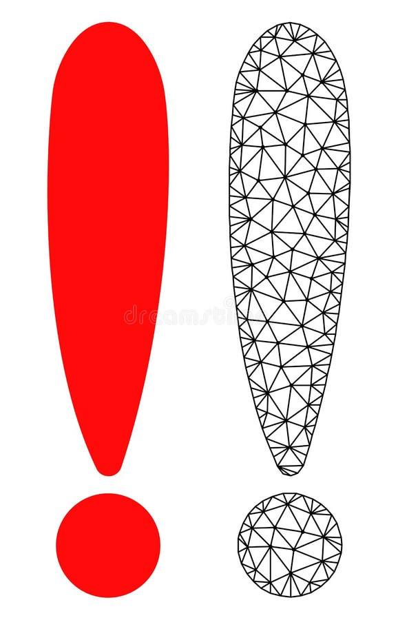 Red Mesh Exclamation Sign del vector e icono plano libre illustration