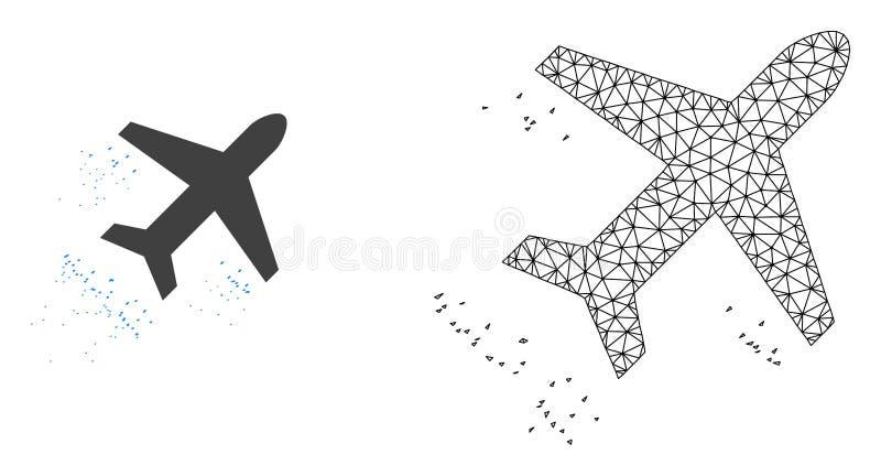 Red Mesh Flying Air Liner del vector e icono plano stock de ilustración