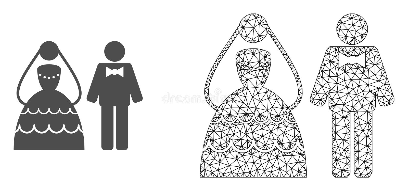 Red Mesh Wedding Couple del vector e icono plano stock de ilustración