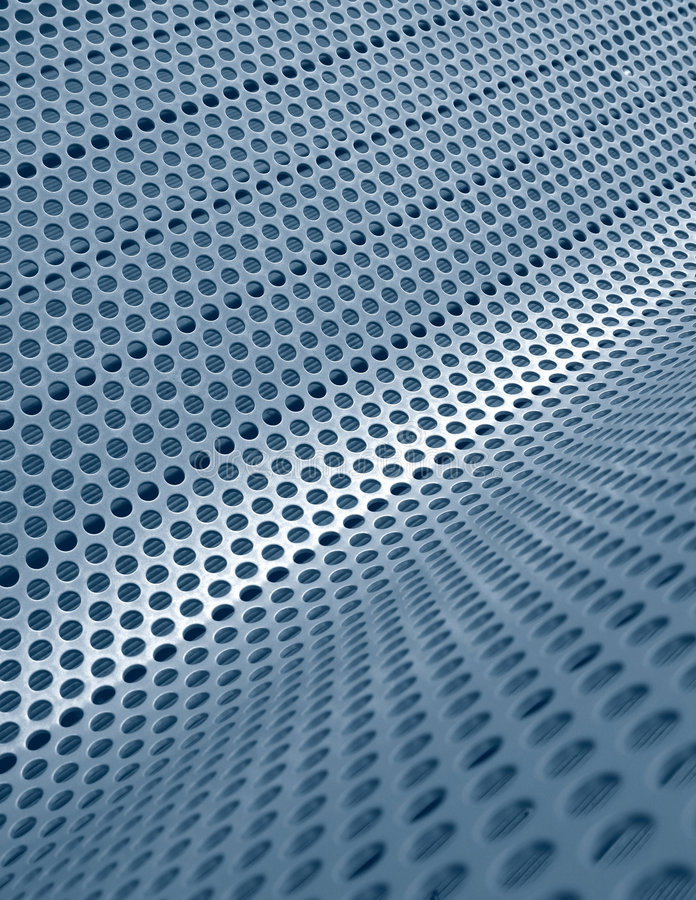 Red metálica perforada azul imagenes de archivo