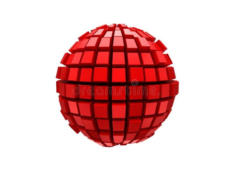 Red metal 3d sphere stock illustration