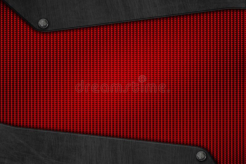 Red metal background and texture. Chrome metal and carbon fiber mesh. metal background and texture. 3d illustration vector illustration
