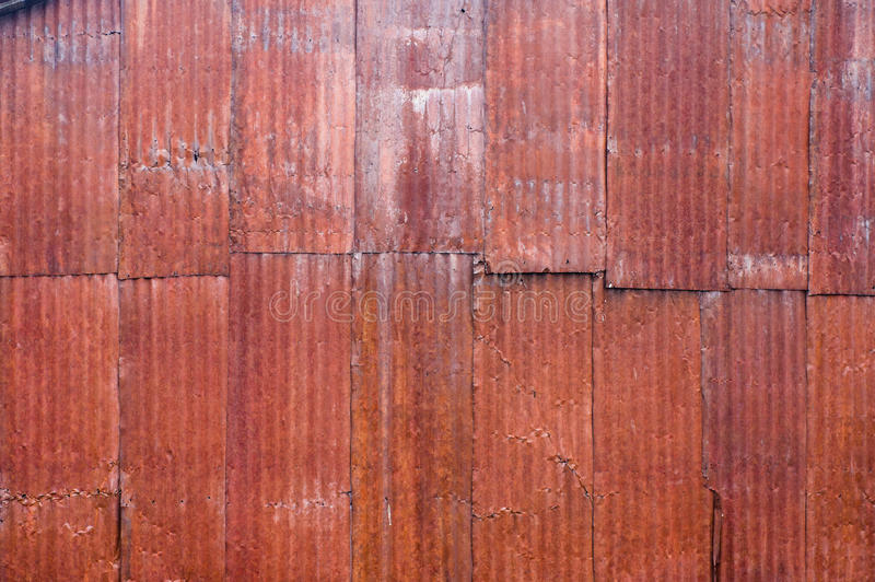 Red Metal Corrugated Siding With Rust Stock Image Image