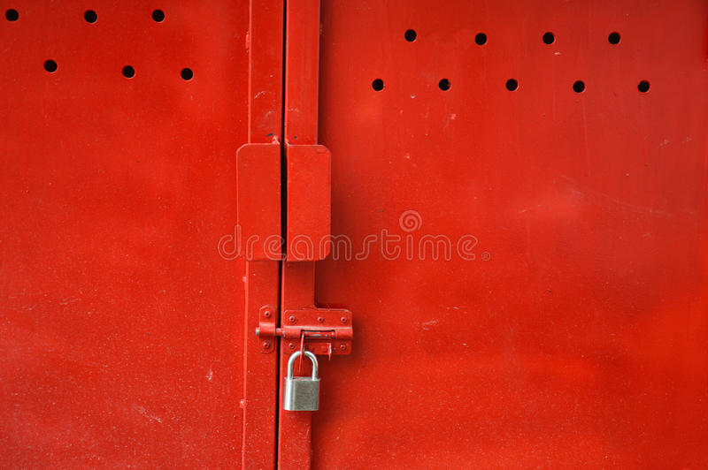 Download Red metal door stock photo. Image of gate, grungy, guard - 32177858