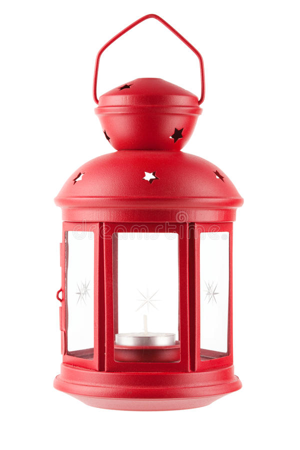 Red metal lamp with candle royalty free stock image