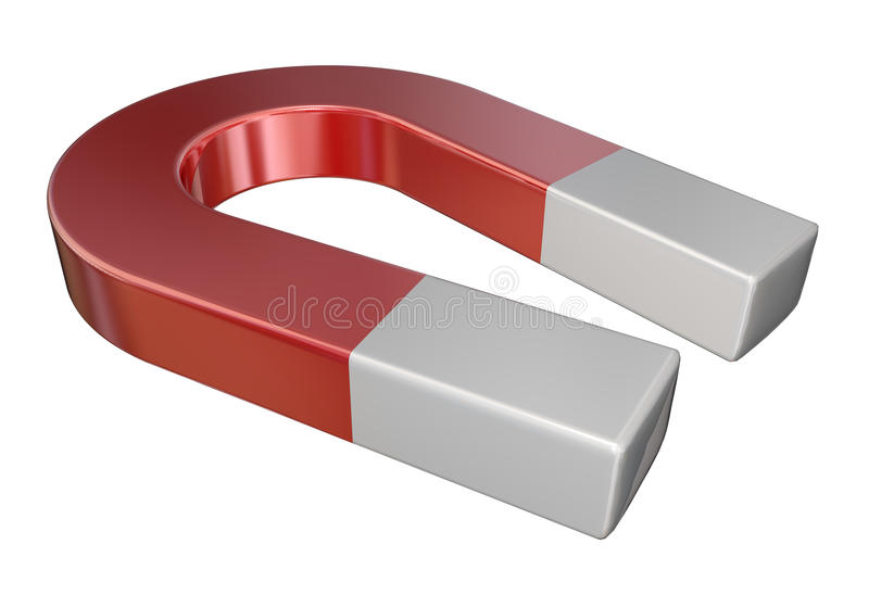 Red Metal Magnet Science Attraction stock photos