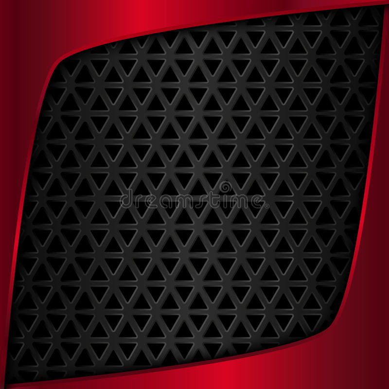 Red metal plate. Black metal background. Metal grid. Geometric pattern with triangles. Vector illustration royalty free illustration