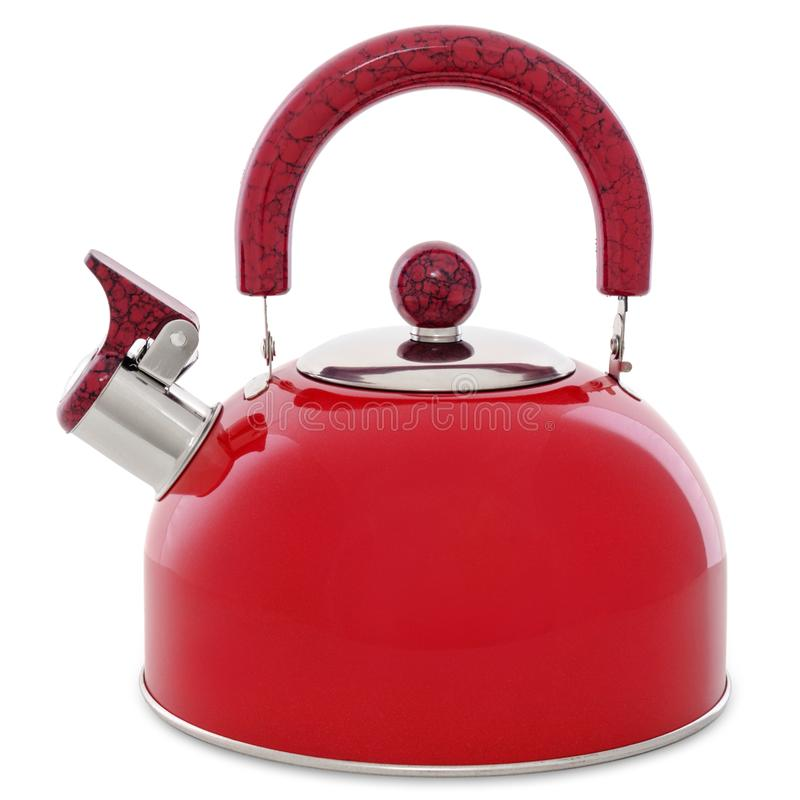 Red metal whistling kettle isolated on white background. Red metal whistling kettle isolated on white stock photo