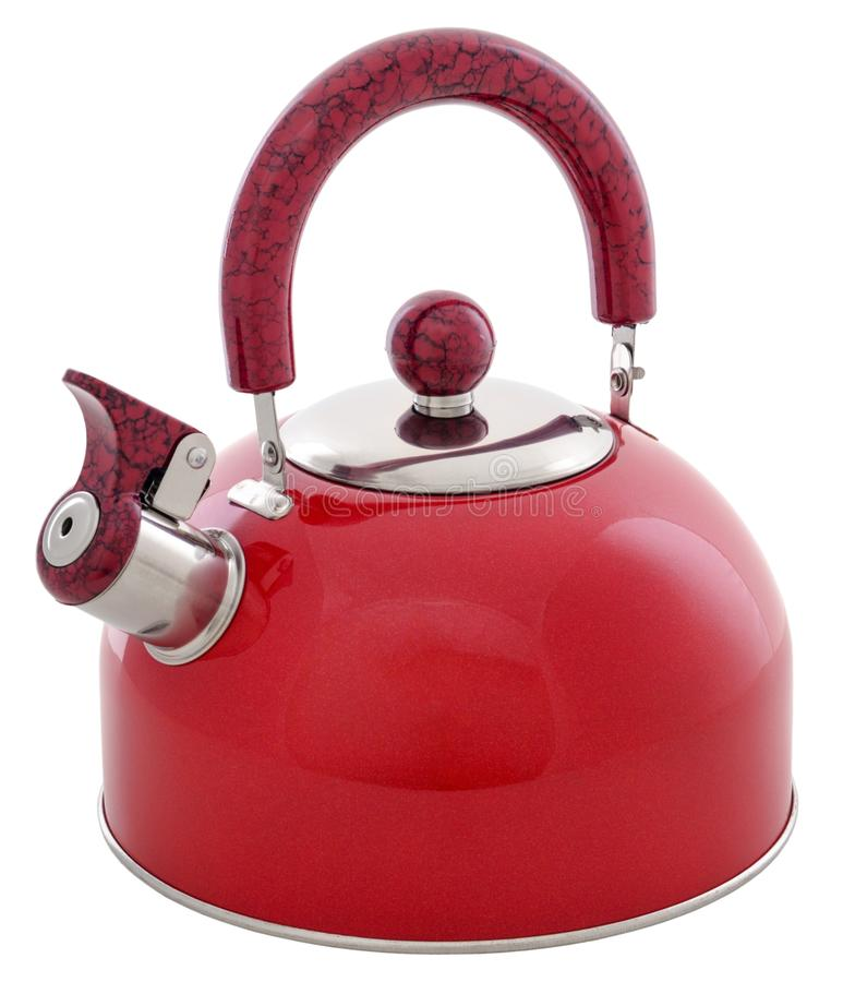 Red metal whistling kettle isolated on white background. Red metal whistling kettle isolated on white stock photos