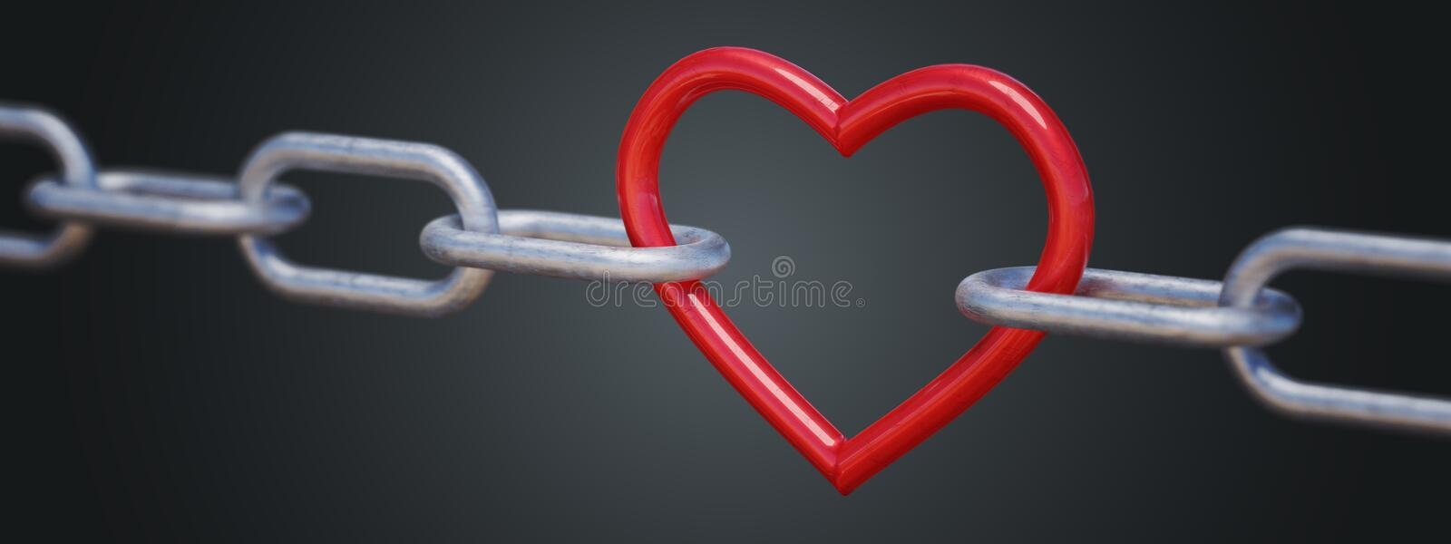 Red metalic heart in chain on black background. 3D rendered illustration.  stock illustration