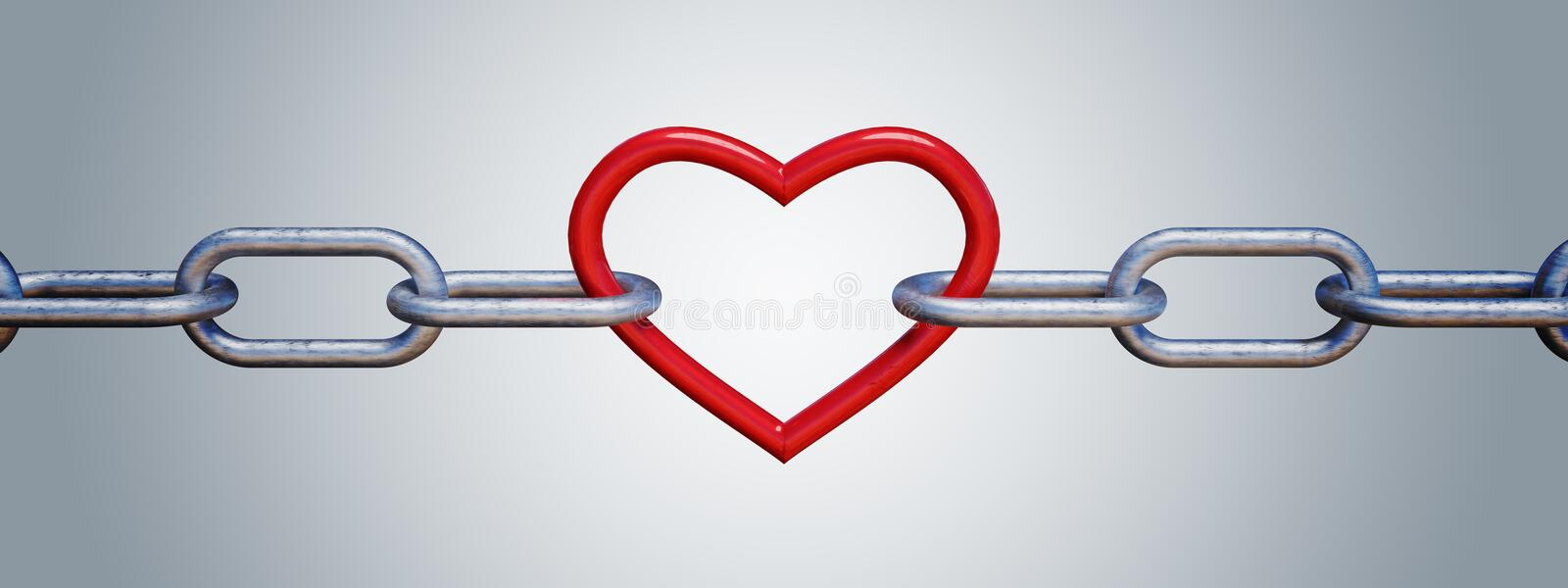 Red metalic heart in chain. 3D rendered illustration.  vector illustration
