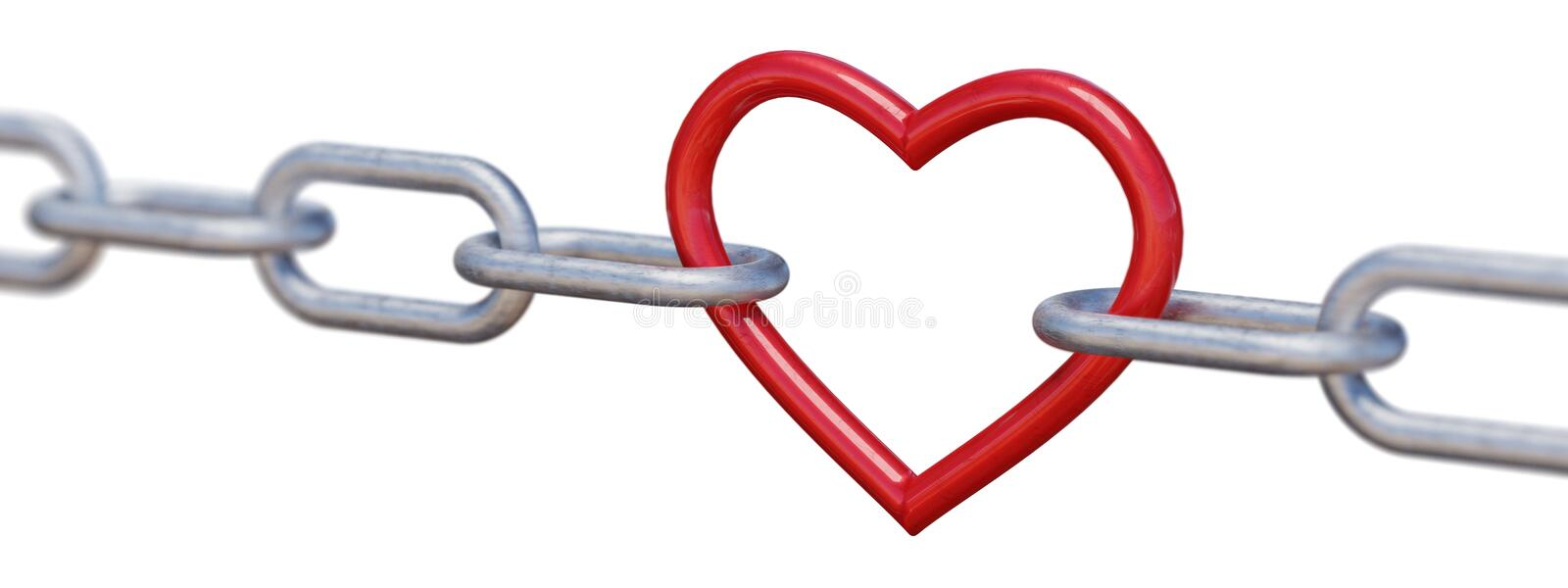 Red metalic heart in chain isolated on white background. 3D rendered illustration.  royalty free illustration