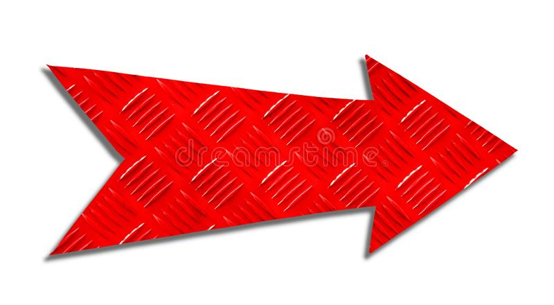 Red metallic iron direction arrow sign steel checker plate or diamond plate industrial metal texture pattern cut out isolated. Red metallic iron direction arrow royalty free stock photo