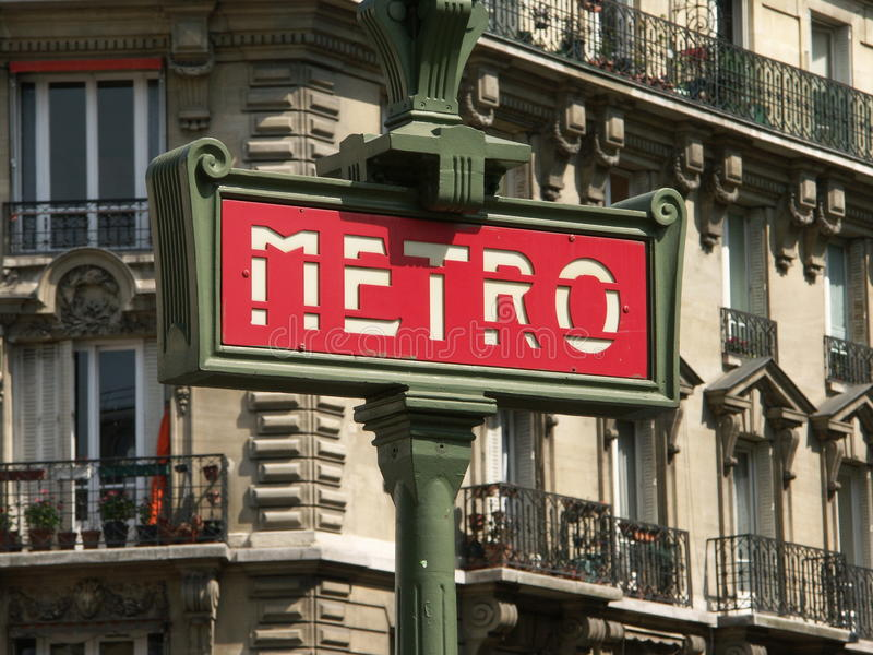 Download Red metro sign editorial stock image. Image of entrance - 13995954