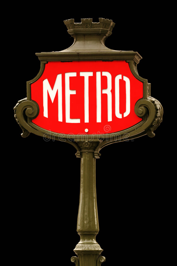 Free Red Metro Sign In Paris Stock Photo - 4135780