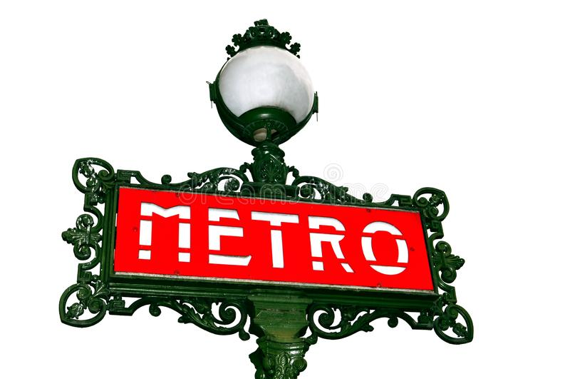 Red metro sign with light in Paris, France. Famous red metro sign with light over white background in Paris, France royalty free stock image