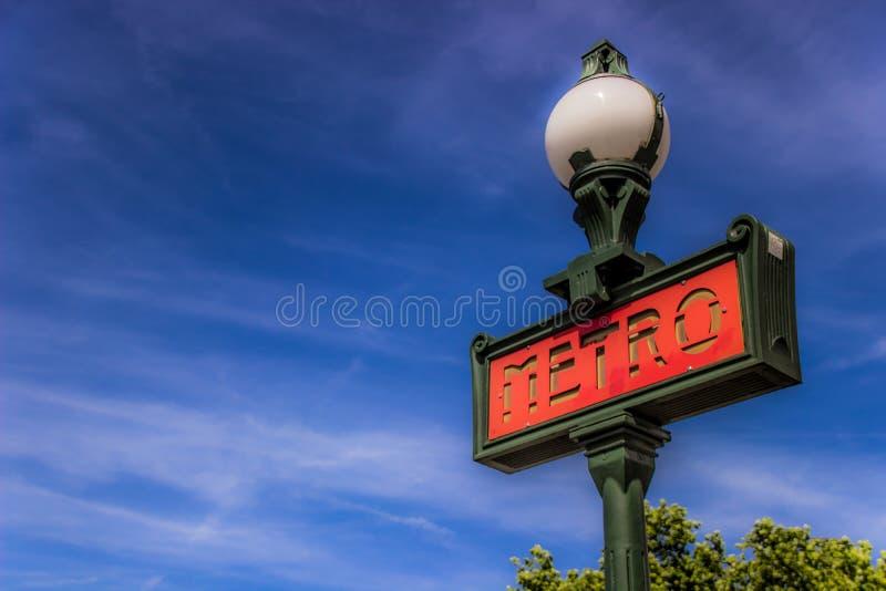Red metro sign in Paris, France. Paris metro Subway sign. royalty free stock images