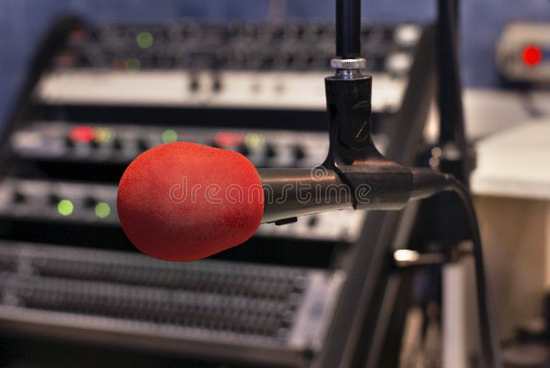 Red microphone stock photography